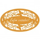 "PLACA DECORATIVA OVAL ""ENFIM CASADOS"" - 40x23"